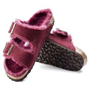 BIRKENSTOCK ARIZONA PELLE Pantofole in di agnello NORMALE Borgogna Sandali