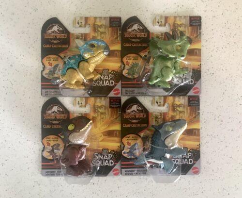 Jurassic World Snap Squad Camp Crétacé Wave 6 Métallique Set de 4 Livraison rapide