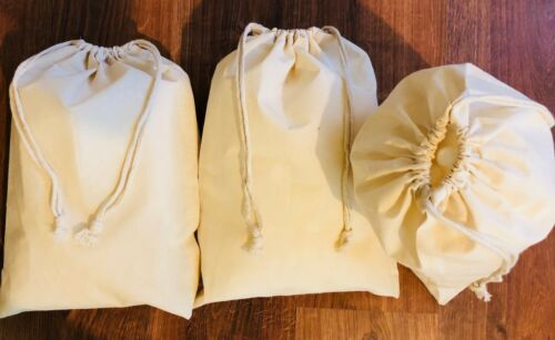 12 x 20 Inches Poly Cotton Double Drawstring Premium Muslin Bag Select Quantity