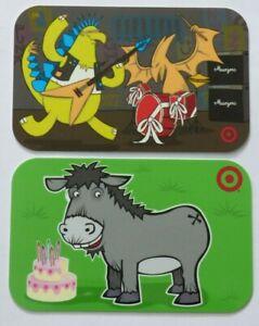 Target-Gift-Card-LOT-of-2-Older-Monster-Rock-Band-B-Day-Donkey-2008-No-Value