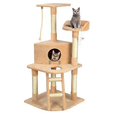 "Luxury 50"" Cat Tree Condo Pet Bed Furniture Kitten Scratch Activity Center + Toy"