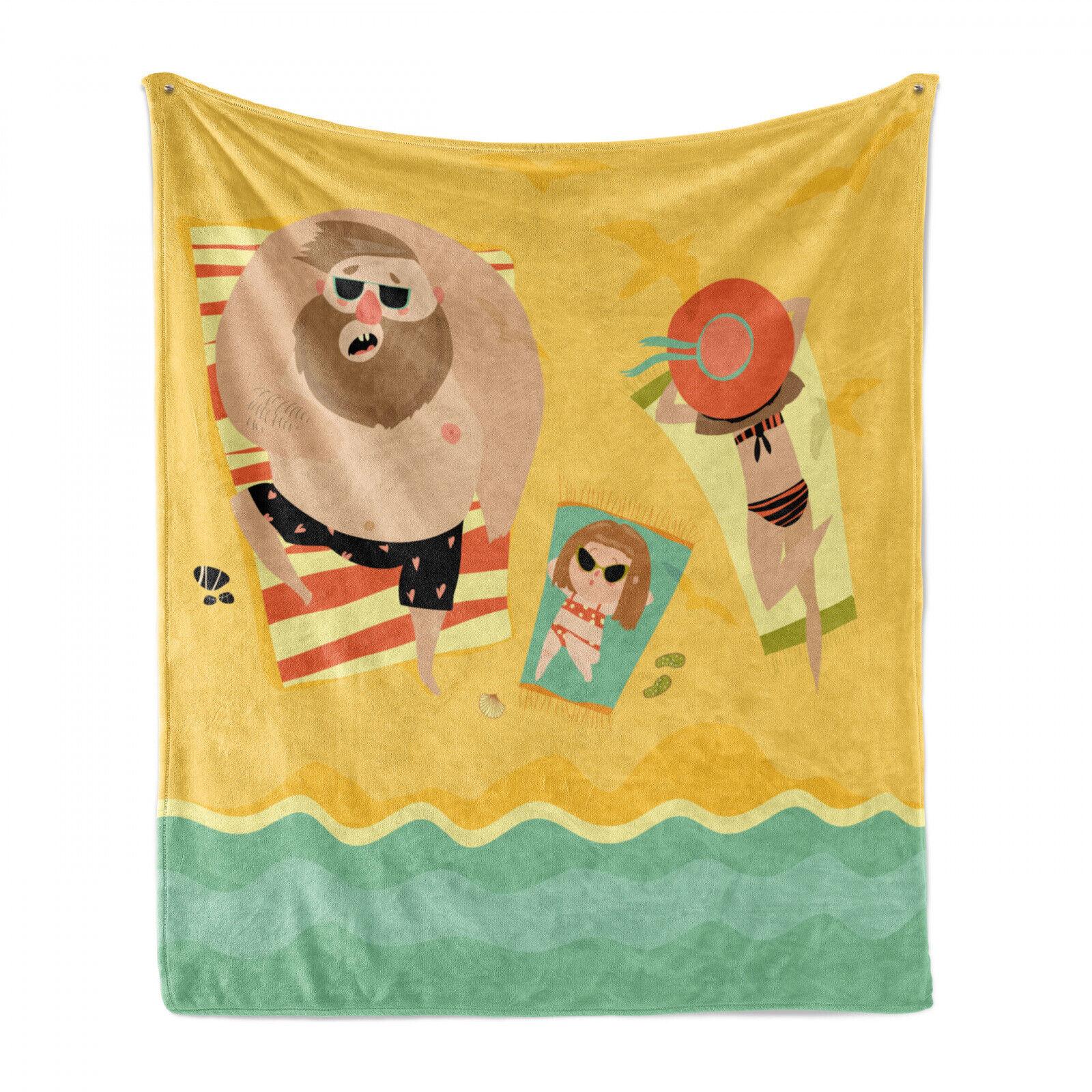 Grafik-Strand Weich Flanell Fleece Decke Happy Family Meer