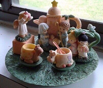 1998 Enesco Precious Moments Nativity Mini Tea Set Christmas Decor Collectible