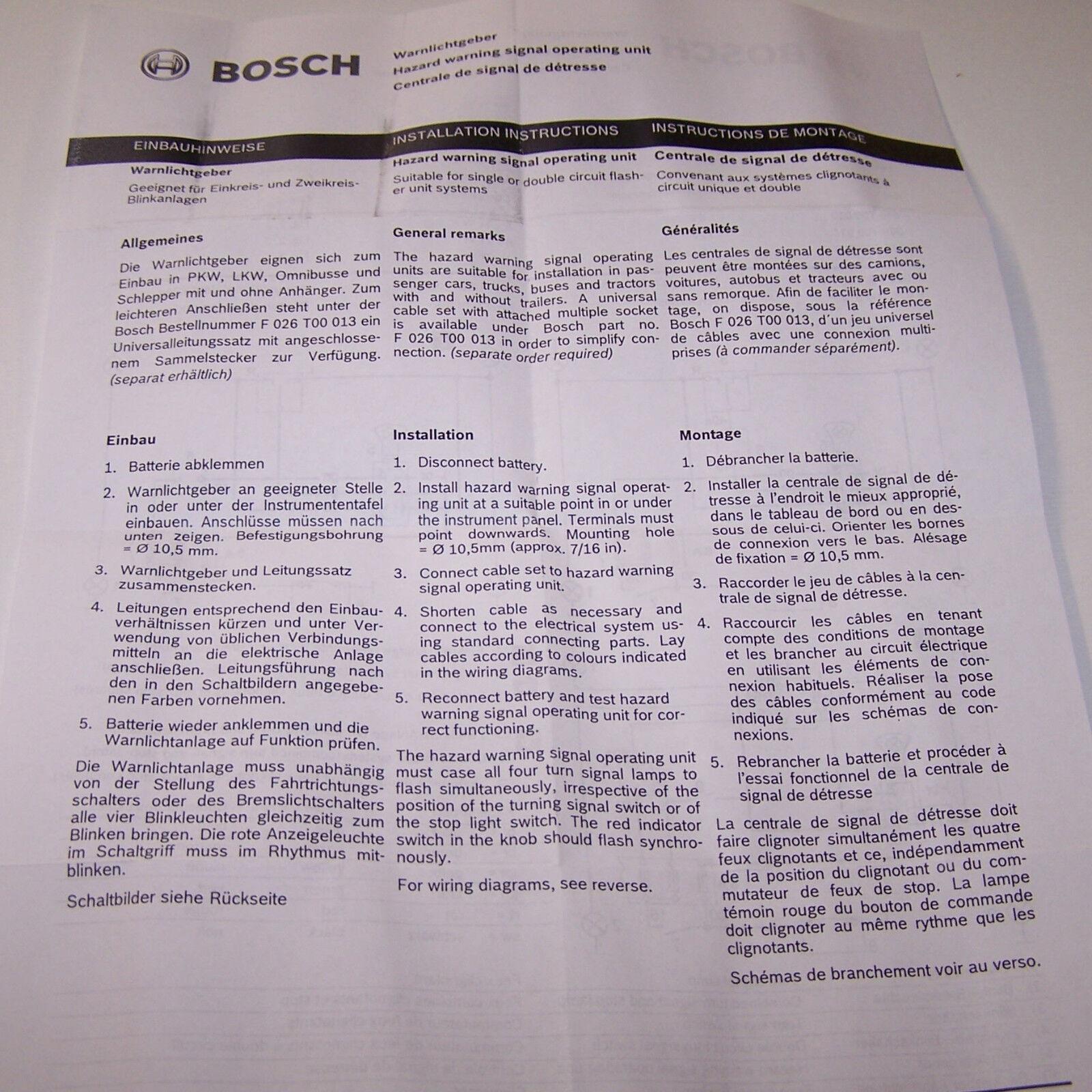 Warnblinkanlage Bosch 6 Volt 0336851003 Oldtimer Traktor Landmaschinen neu