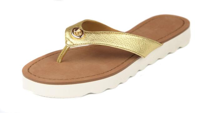 73cc384b14ab Coach Women s Gold Shelly Metallic Leather Flip Flop Sandal Shoes Ret  98  New