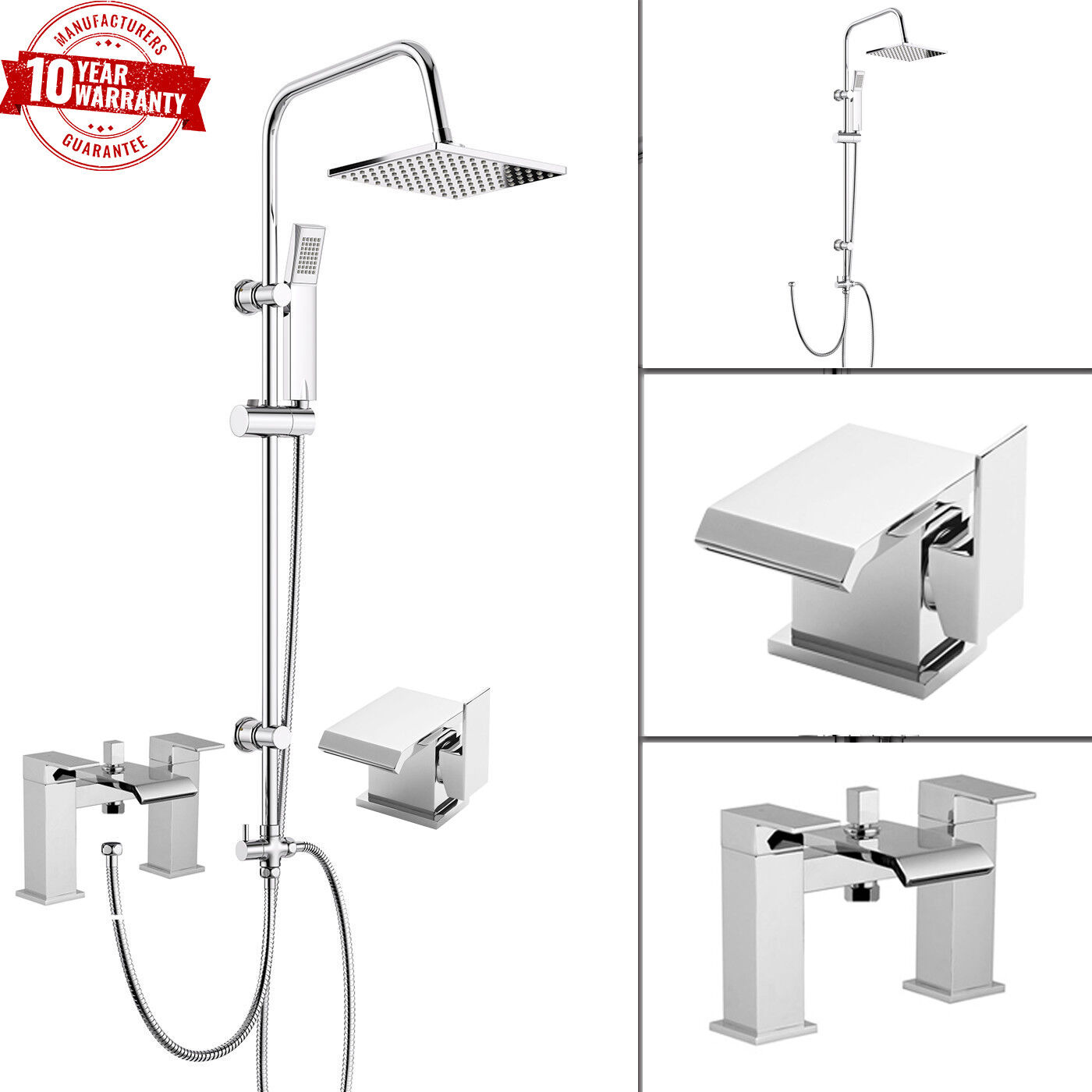 Waterfall Bath Shower Mixer Tap With 3 Way Square Shower Rigid Riser /& Basin Tap