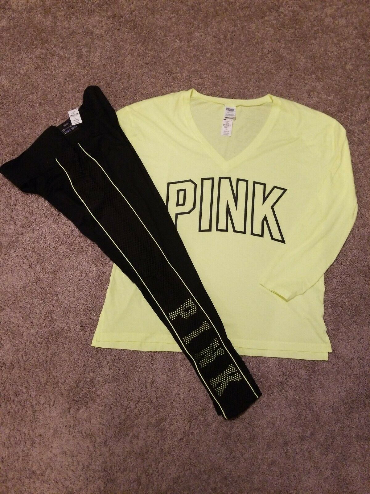 Victoria Secret Pink High Waist Ultimate Leggings Outfit Large NWT L