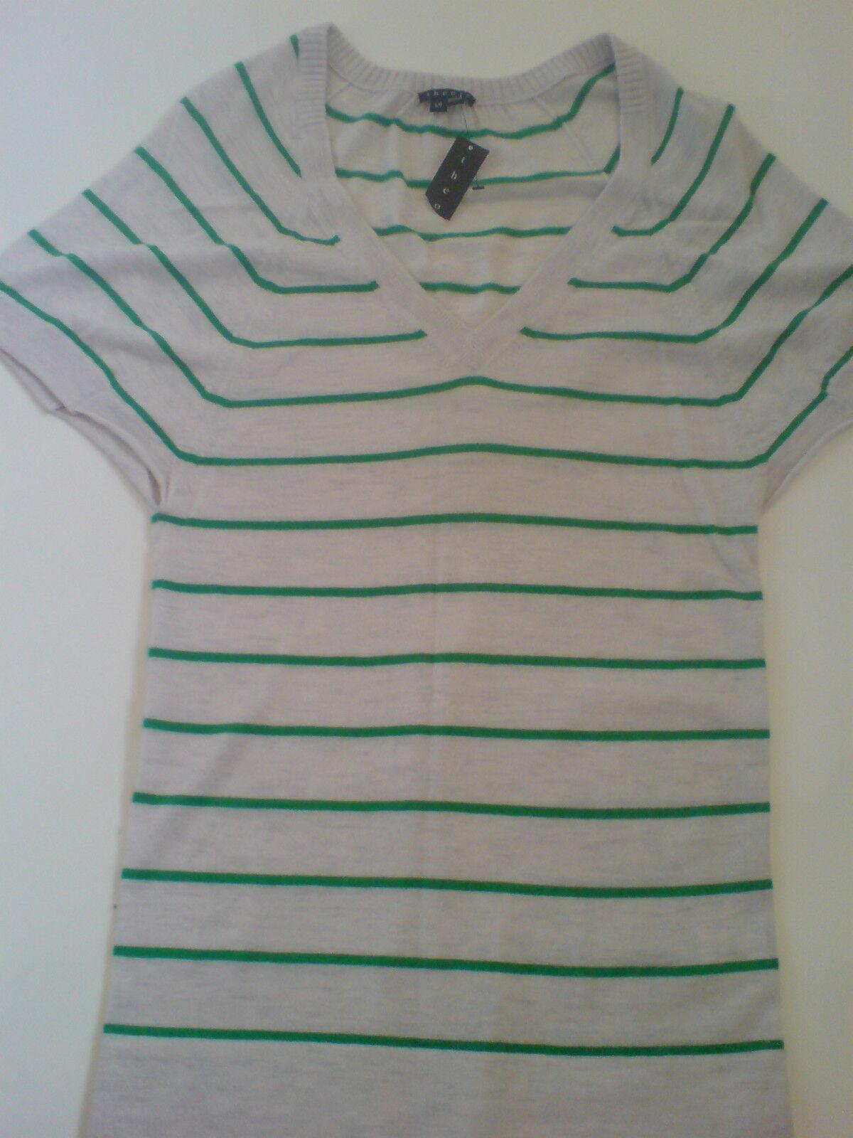BNWT Theory 100% Cashmere 'Annie' Grey Green Stripe Short Sleeve Jumper