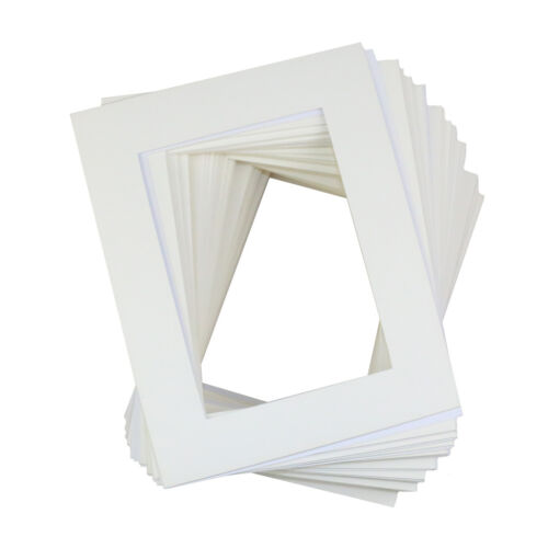 """50 Pack 8x10/"""" White Picture Mats Mattes with White Core Bevel Cut for 5x7/"""" Photo"""