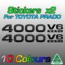 Toyota Prado stickers decals x2 for 4000 V6 VVTi  ***premium quality***