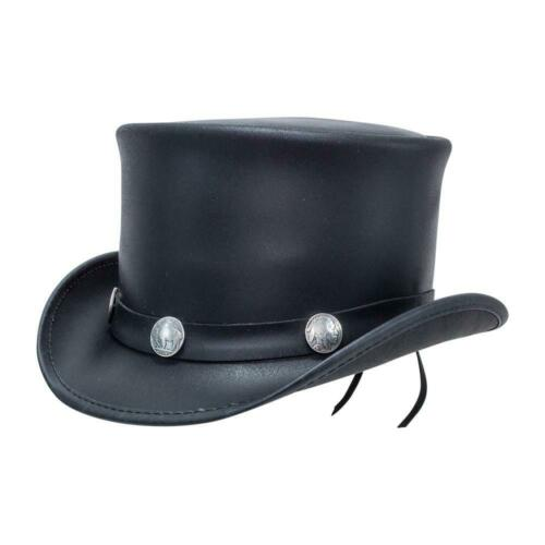 BLACK TOP HAT100/% LeatherBuffalo Band with Bull CoinsBrand New with Tag