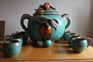 Design & Stil UnermüDlich Alte Art Deco Keramik Bowle 12 Personen Laufglasur 50er Jahre Trinkgarnitur Fortgeschrittene Technologie üBernehmen
