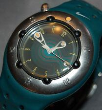RARE! Nike Men's Cayman Super Diver WW0006 Round Dial w/ Date Blue Band NEW BATT
