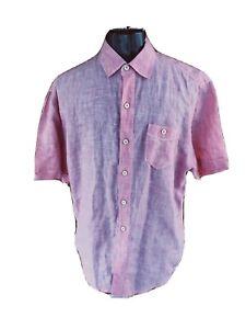 Bahama-Relax-Mens-Medium-Pink-Button-Front-Short-Sleeved-Collared-Linen-Shirt