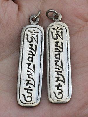 Pair Tibetan White Copper Delicately Carved OM MANI PADME HUM Amulet Pendants