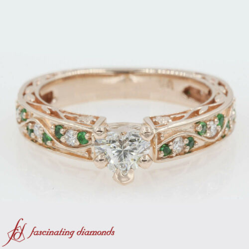34 Carat Heart Shaped Diamond And Emerald Vintage Filigree Pave Engagement Ring