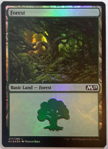 4x FOIL Forest #277 Volkan Baga art Near Mint Magic basic land Core Set 2019 M19