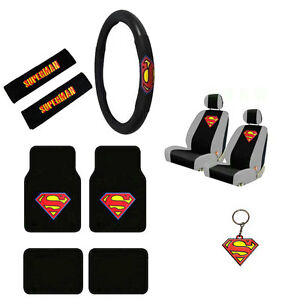 Image Is Loading New Superman Logo Car Truck Seat Covers Steering