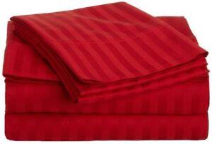 Red Stripe Queen Sheet Set 4 Piece 800 Thread Count Egyptian Cotton