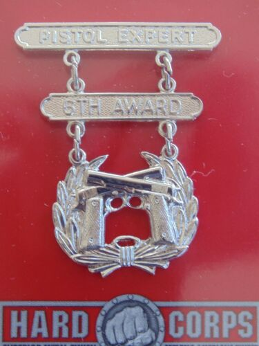 USMC US MARINE CORPS ALL RANKS EXPERT PISTOL SILVER BREAST BADGE 1ST AWARD NIP