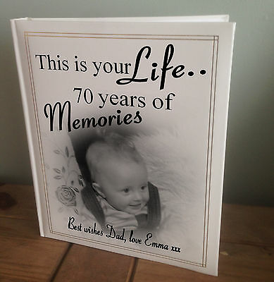 """Personalised large photo album 6x4/"""" x 200 this is your life 60 years of memories"""