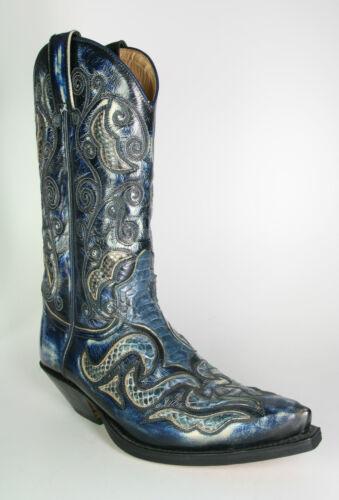 7428 Azul Mit Sendra Westernstiefel Dirty Blau Cowboystiefel Pythonleder Denver 4w1w7S