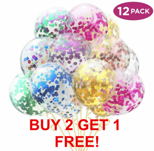 Lot-de-12-confettis-ballons-latex-12-034-decorations-a-L-039-helium-Fete-D-039-anniversaire-Mariage
