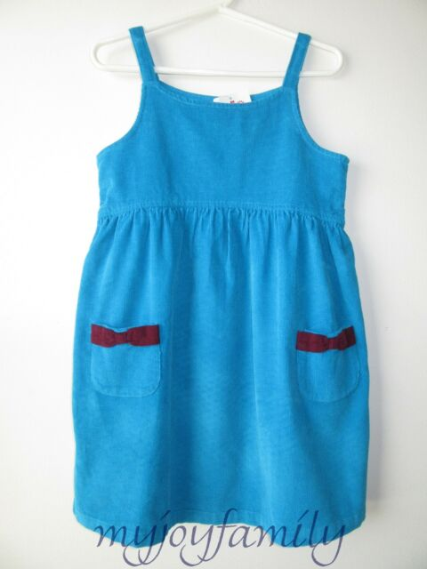 HANNA ANDERSSON Village Cord Corduroy Jumper Dress Folktale Teal 130 8 NWT