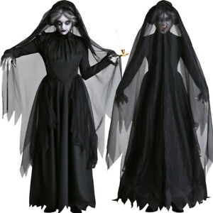 Details about 2019 Women Halloween Ghost Bride Cosplay Costume Scary Witch  Vampire Black Dress