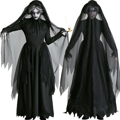 2019 Women Halloween Ghost Bride Cosplay Costume Scary Witch Vampire Black  Dress