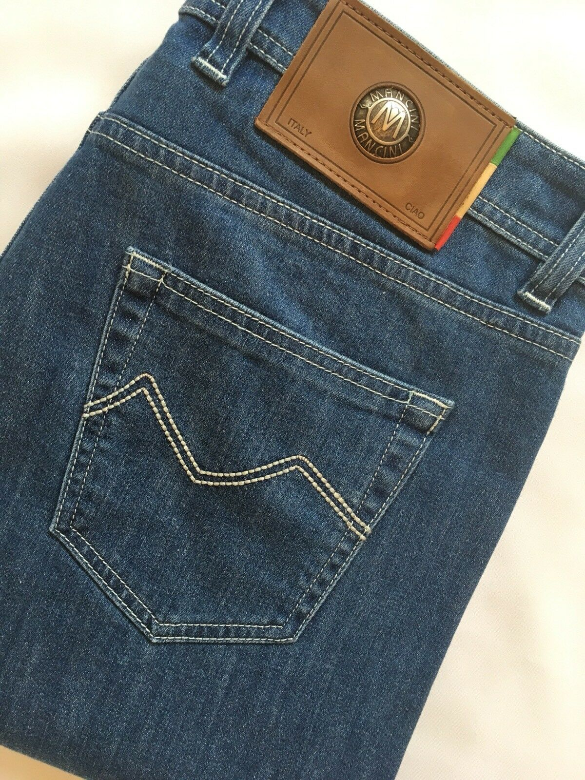 """Mancini Rupert bluee Jeans 28  waist 32"""" leg Regular Stretch RRP"""