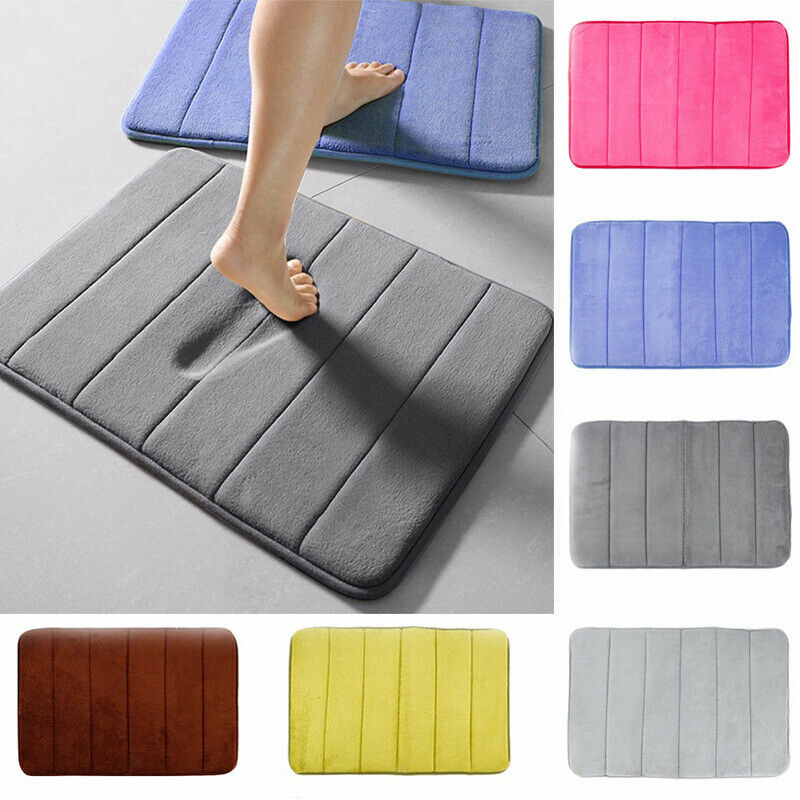Home Bath Mat Coral Fleece Bathroom Carpet Absorbent Non-slip Rugs Memory Foam