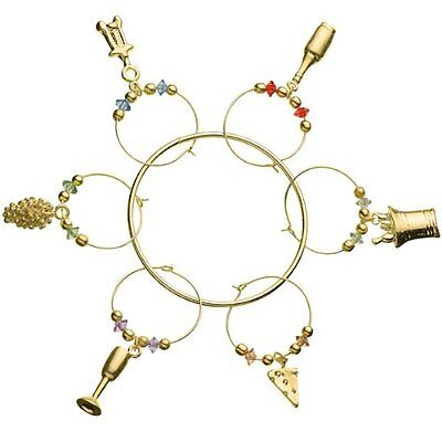 Prodyne Metalla Gold Wine /& Cheese Wine Glass Charms Set of 6 Drink Markers
