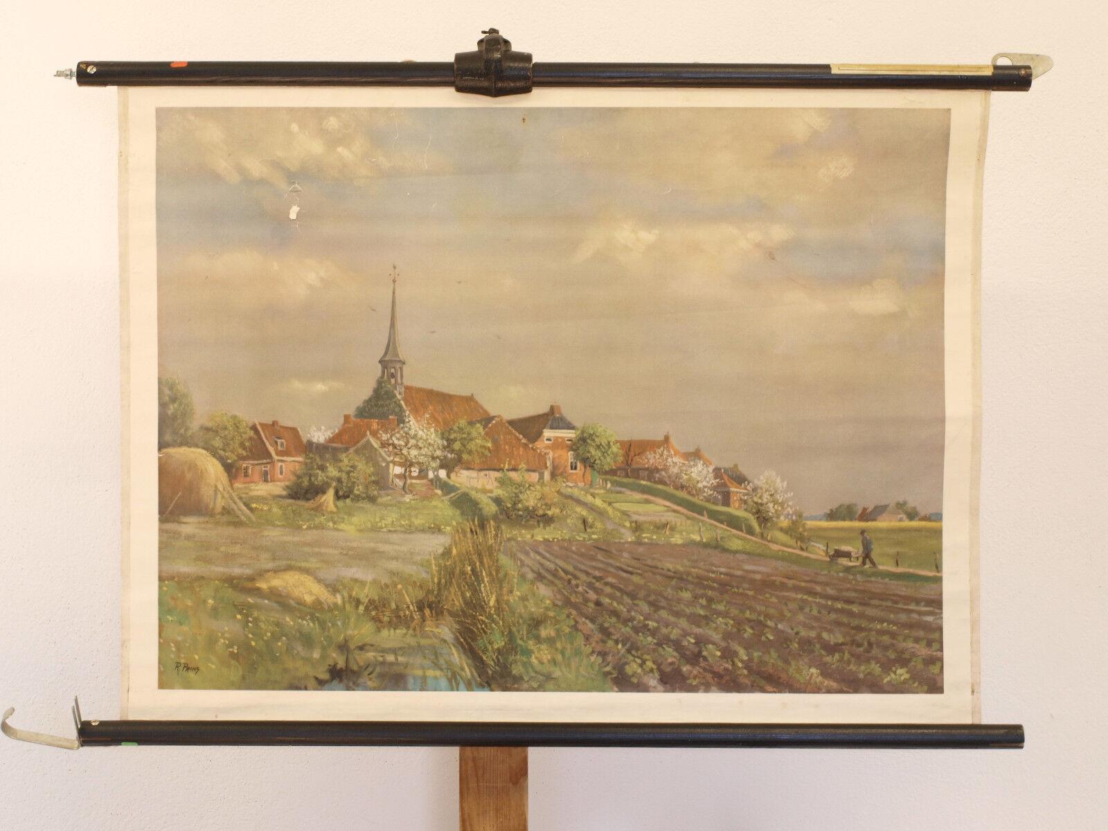 Warft an der Nordseeküste R.Prins Kirche Das Watt Wandbild 82x60cm vintage 1930