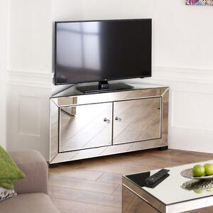 Details About Venetian Mirrored Gl Corner Tv Unit 2 Door Media Storage Cabinet Stand Tfm12