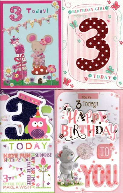 Happy Birthday Card New 3rd Third 3 Today Three For Girl Her Female