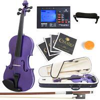Mendini Full Size 4/4 Acoustic Violin Metallic Purple Solidwood +tuner on Sale