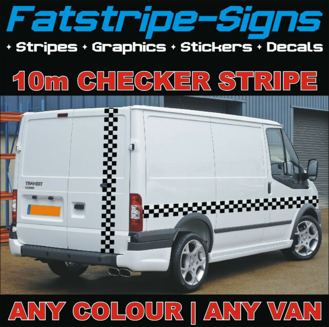10 Ford Transit 15str Minibus: 10m Ford TRANSIT Checker Stripe Van Graphics Stickers