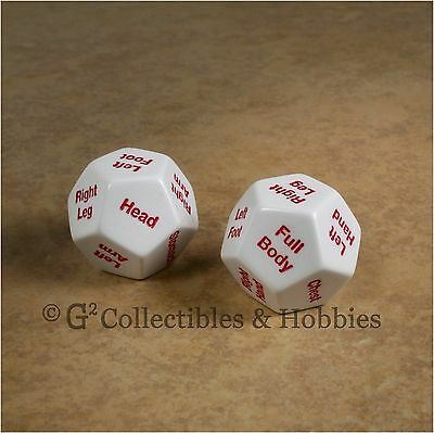 NEW Pair of Critical Location D12 Body Hit Gaming Dice RPG D&D 28mm