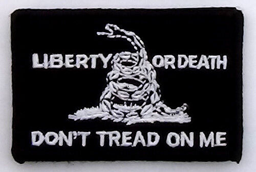 Liberty or Death Don/'t Tread on Me Patch Black hook and loop backing