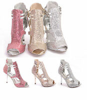 NEW WOMENS LADIES PARTY PROM CUT OUT GLITTER HIGH HEELS PEEP TOE SHOES SIZE 3-8