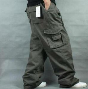 New-Men-Long-Pants-Loose-Cargo-Baggy-Carpenter-Casual-Overall-Cotton-Trousers