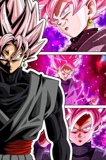 Dragon Ball Super Poster Goku Blue vs Black Rose 12in x 18in Free Shipping