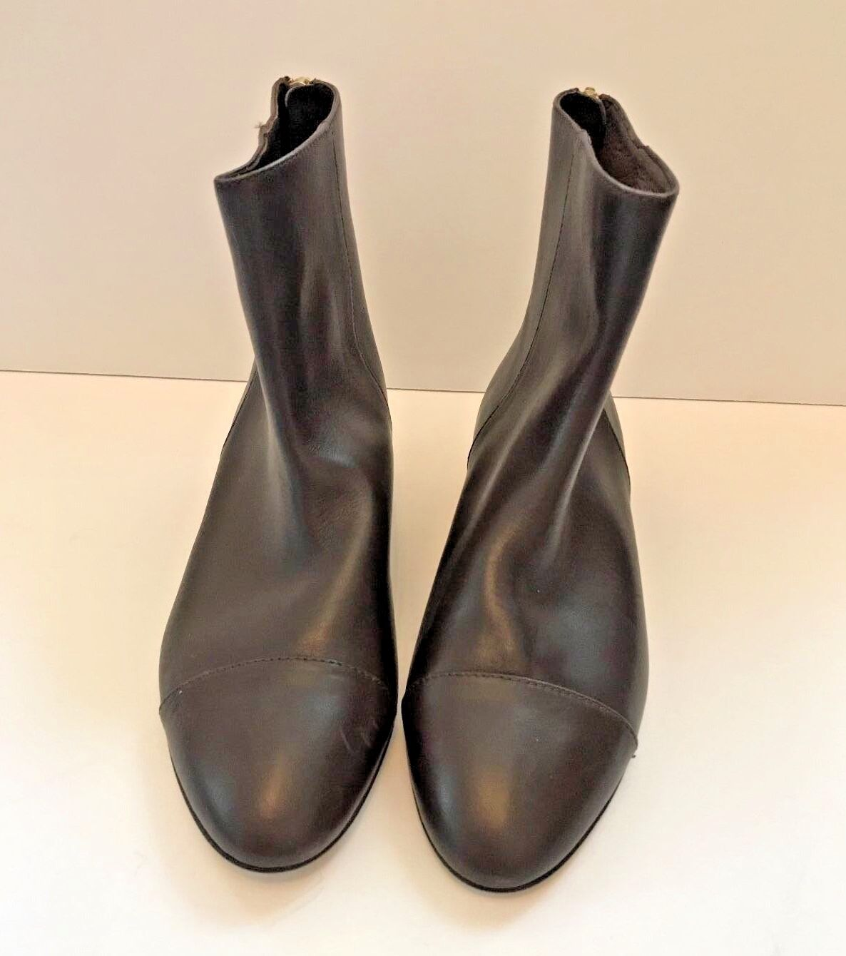 J. Crew läder Back Zip Ankle stövlar stövlar stövlar - Chocolate bspringaaa Storlek 7 (MSRP  298)  billig grossist