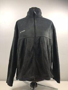 Columbia-Men-s-Fleece-Full-Zip-Up-Jacket-Coat-Adjustable-Waist-Size-Large-Black