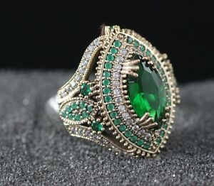 925-Sterling-Silver-Handmade-Antique-Turkish-Emerald-Ladies-Ring-Size-7-9