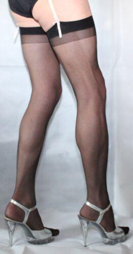 12 Pairs Black Sheer 10 Denier One Size Stockings plain Two Tone Vintage Top