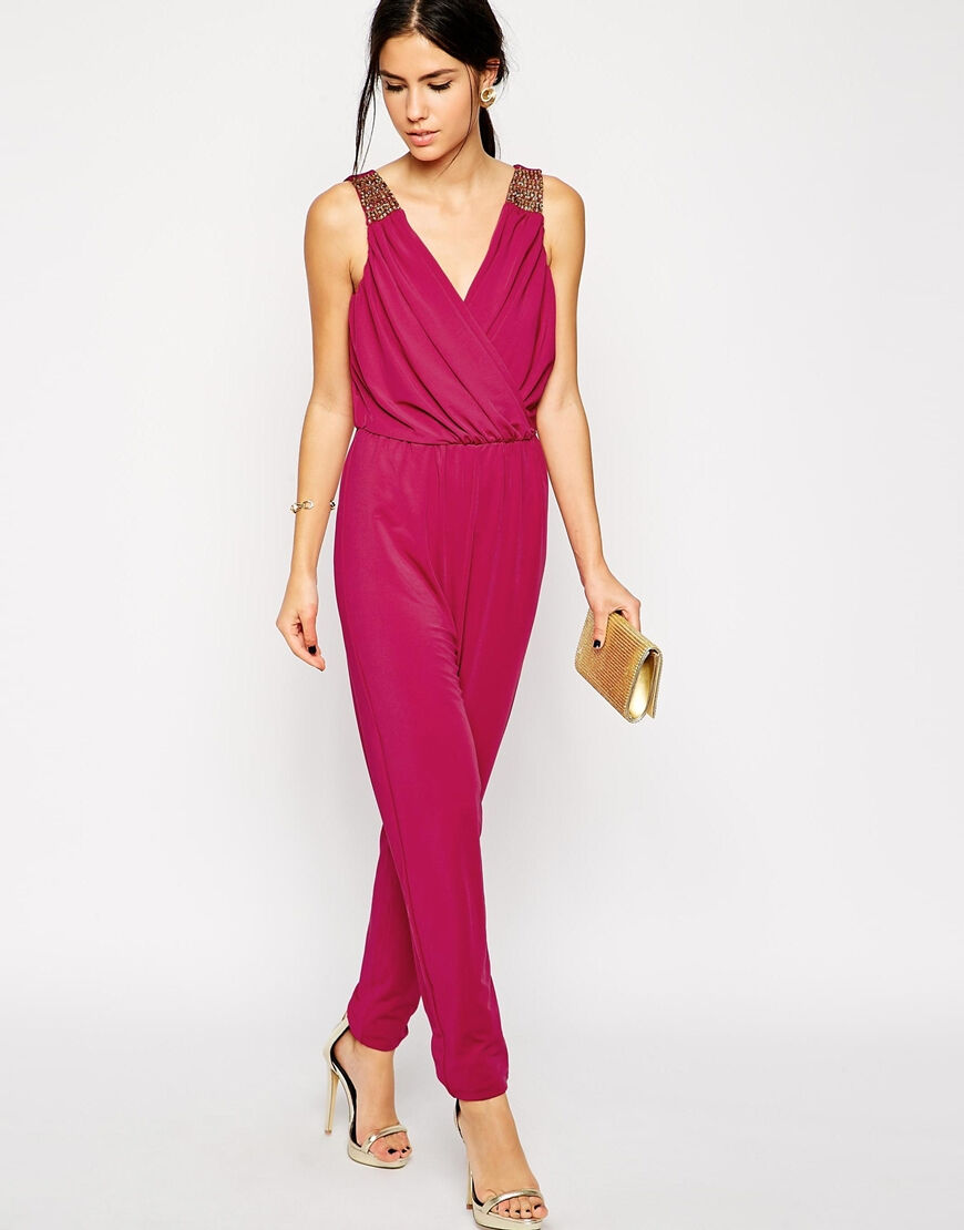 BNWT Little Mistress Pink Wrap Front Embellished Evening Occasion Jumpsuit 10