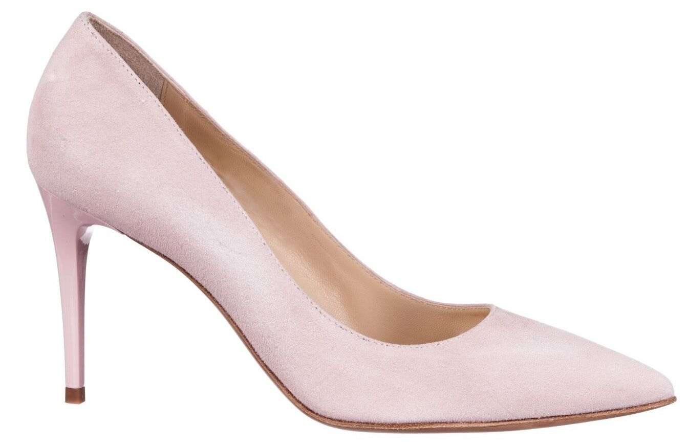 Mori Made in  Pointy High Heels PUMPS SCHUHE Decolte Leather Powder Pink 45