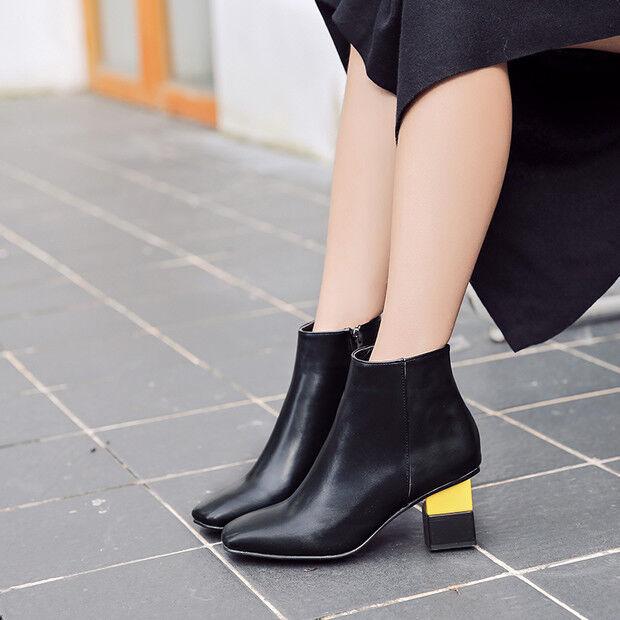botas bajo zapatos alto 7 negro colorido elegantes como piel 9448